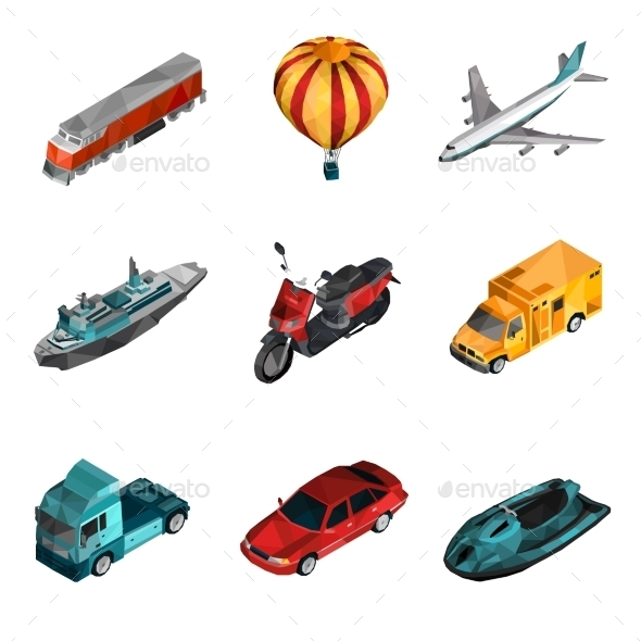 GraphicRiver Transport Low Poly Icons 11848544