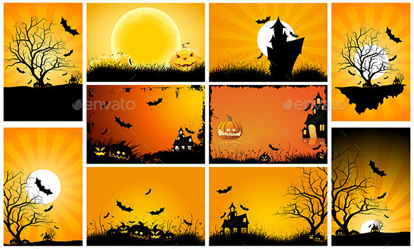Halloween Backgrounds Party Set
