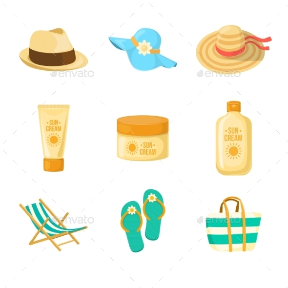 GraphicRiver Sun Creams and Beach Accessories 11849023