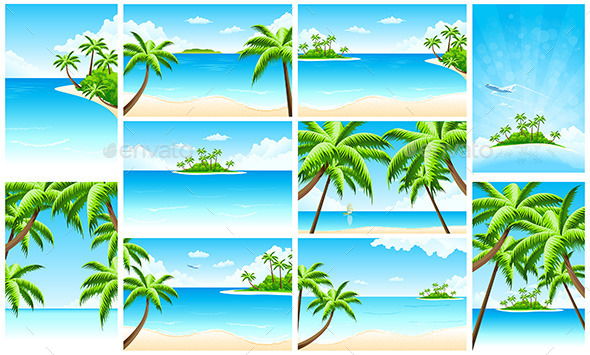 GraphicRiver Set of Tropical Backgrounds with Seaside 11849197