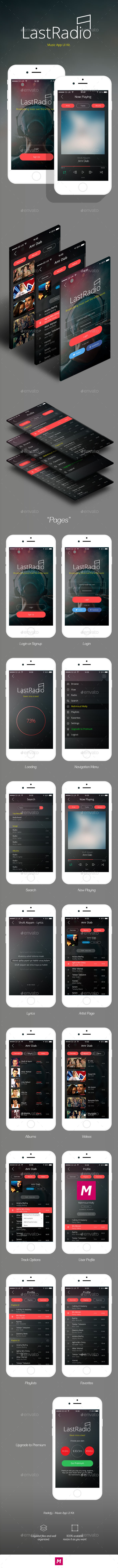 GraphicRiver LastRadio Music App UI Kit 11798166