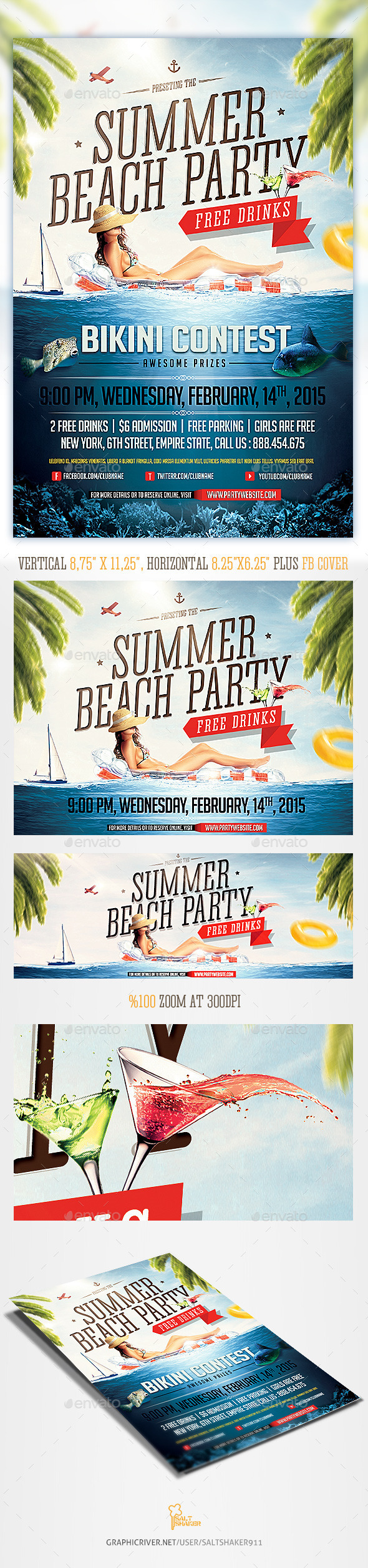 GraphicRiver Summer Beach Party flyer template 11789558