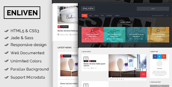 ThemeForest The Enliven Parallax Blog and Magazine Template 11784117