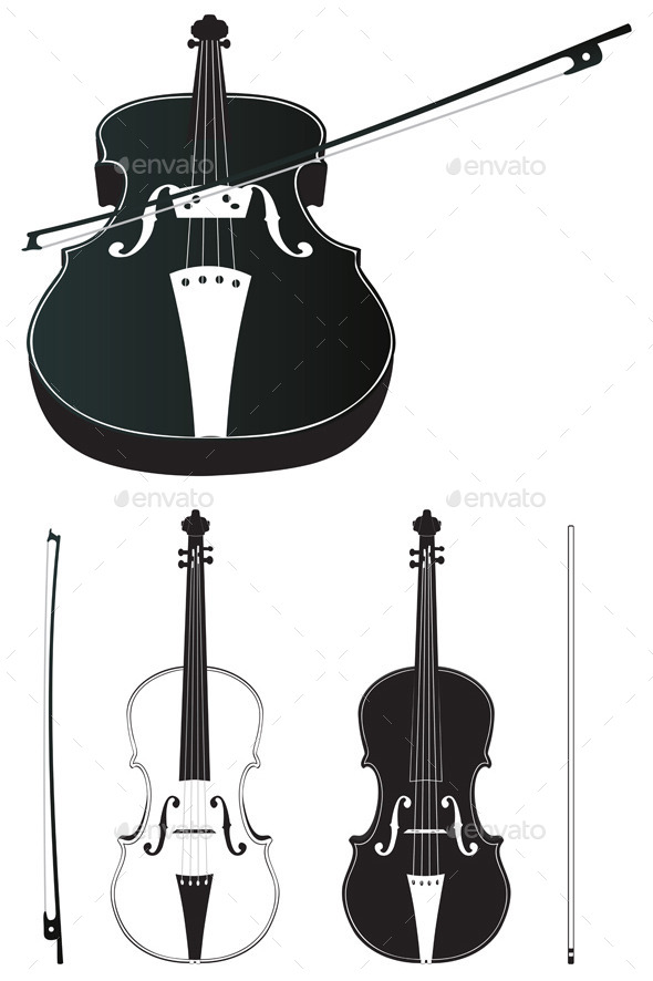 GraphicRiver Violin Silhouette 11851075