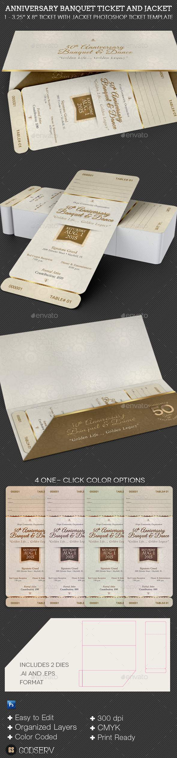 GraphicRiver Anniversary Banquet Ticket and Jacket Template 11851310