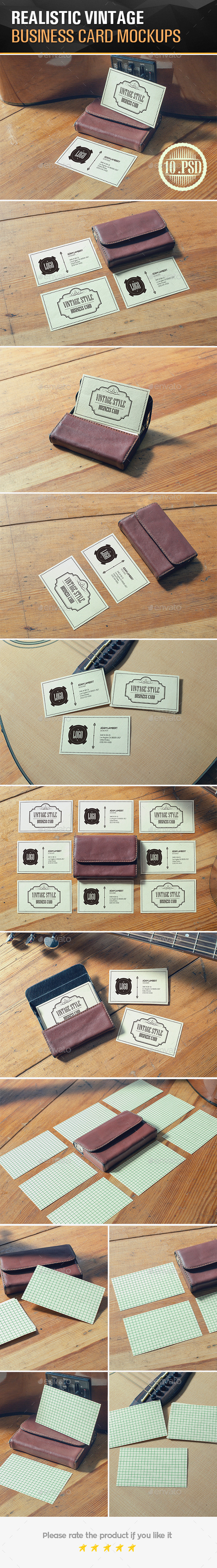 GraphicRiver Realistic Vintage Business Card Mockups 11851576