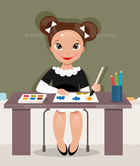 GraphicRiver Girl on the Drawing Lesson 11851687