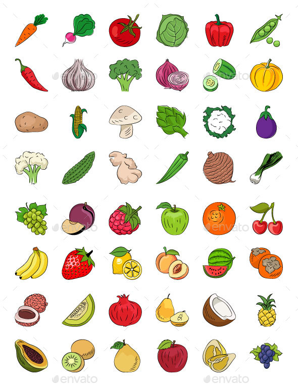 GraphicRiver Fruits and Vegetables Sketch Icons 11851814
