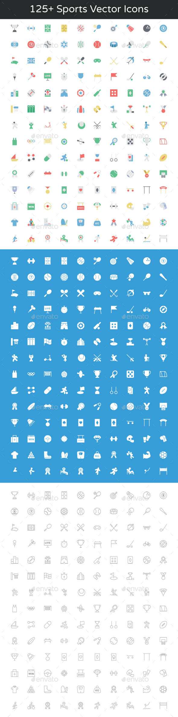GraphicRiver 125& Sports Vector Icons 11851873