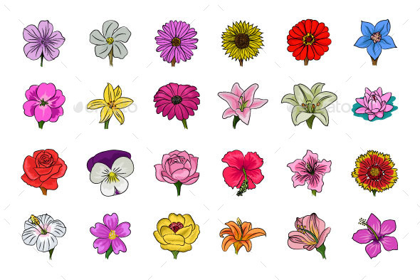GraphicRiver Floral Hand Drawn Colored Icons 11851972