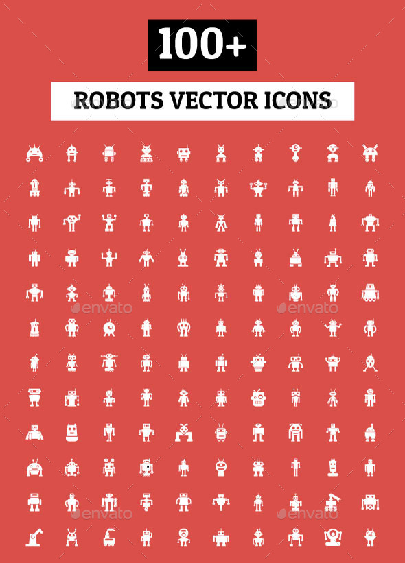 GraphicRiver 100& Robots Vector Icons 11851975