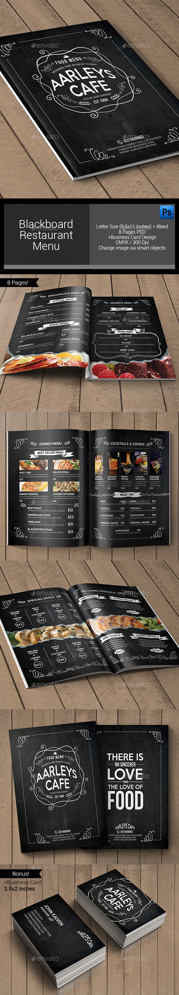 Blackboard Restaurant Menu