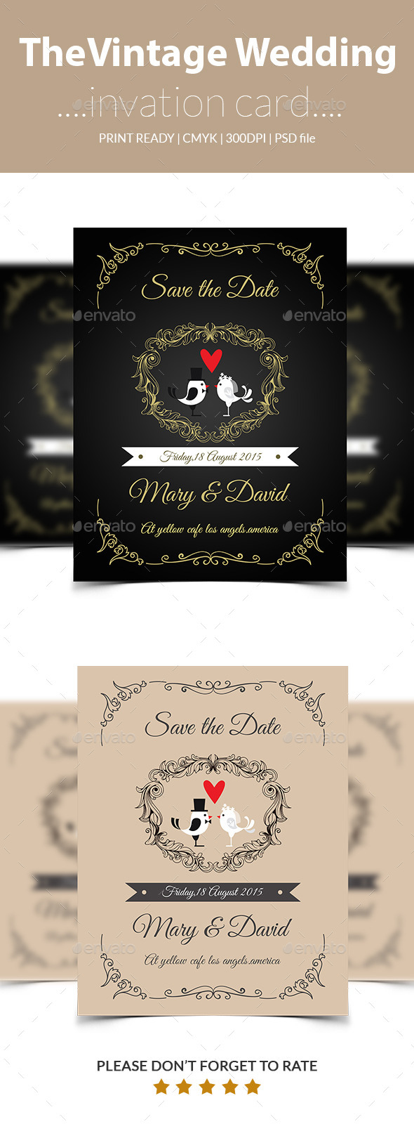Vintage wedding inviation card
