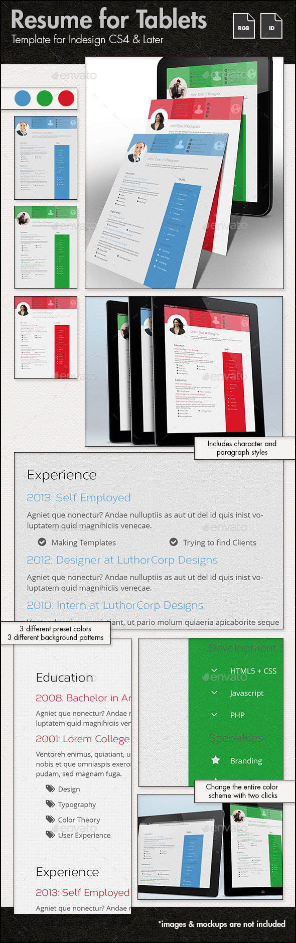 GraphicRiver Resume Template for Tablets 11853057