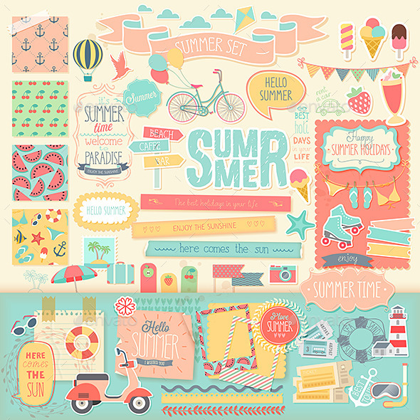 GraphicRiver Summer Scrapbook Set 11853177