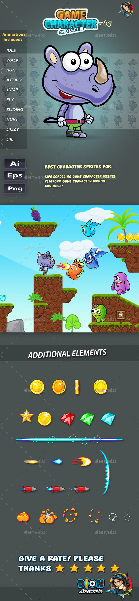 GraphicRiver Rhino 2D Game Character Sprites 63 11854173