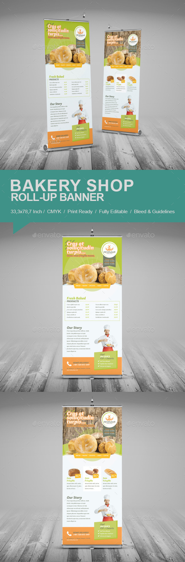 GraphicRiver Bakery Shop Roll-Up Banner 11854268