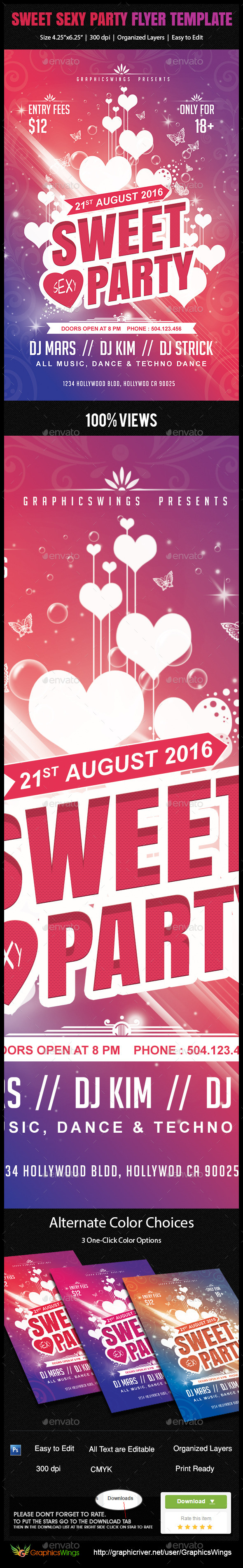 Sweet Sexy Party Flyer Template