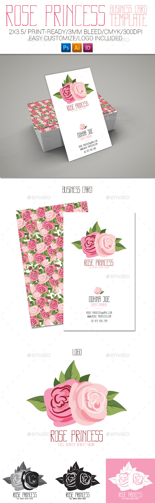 GraphicRiver Rose Princess Business Card 11854898
