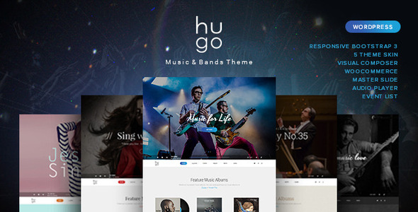 ThemeForest Hugo Music Artist Singers Bands Wordpress 11582780