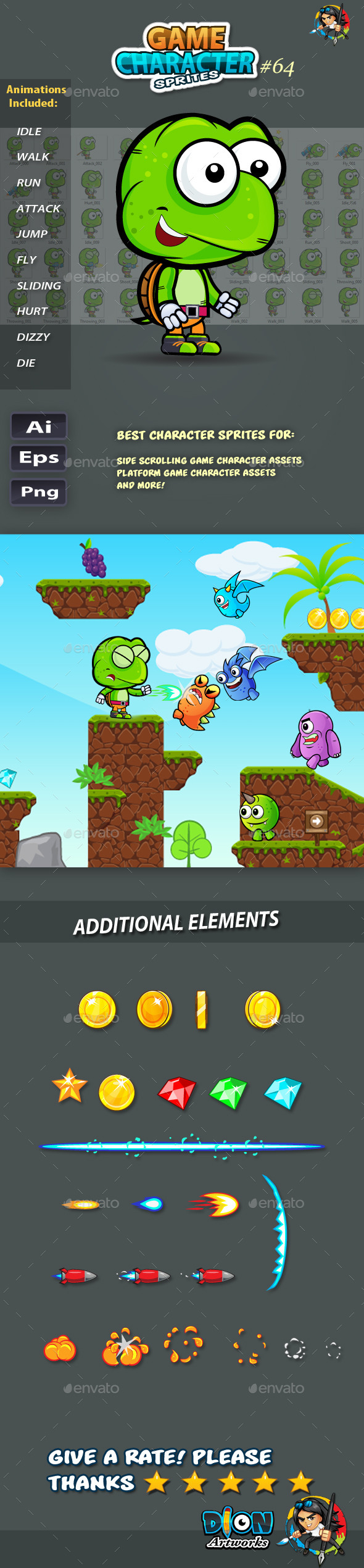 GraphicRiver Turtle 2D Game Character Sprites 64 11855654