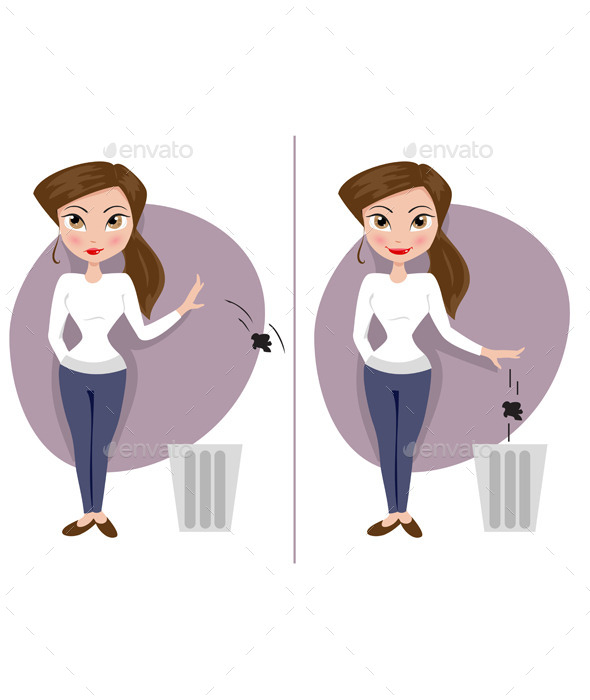 GraphicRiver Two Girls Throw Garbage 11856715