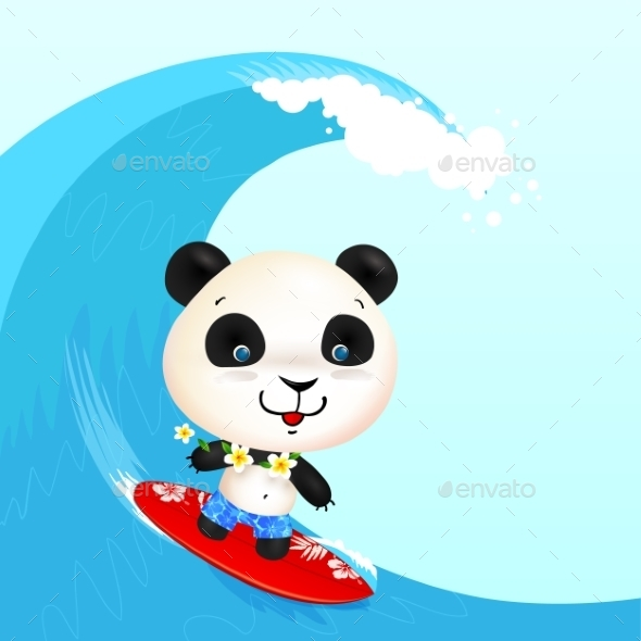 GraphicRiver Little Cute Surfer Panda Surfing In Blowing Wave 11856861