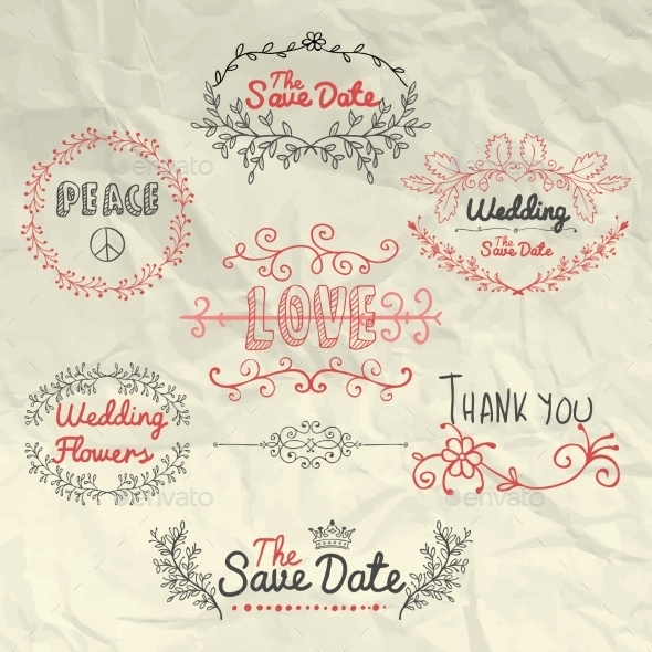 GraphicRiver Sketched Design Elements on Crumpled Paper 11857849