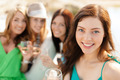 smiling girls with champagne glasses - PhotoDune Item for Sale