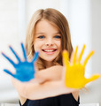 girl showing painted hands - PhotoDune Item for Sale