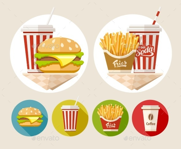 GraphicRiver Hamburger French Fries and Soda Drink 11858606