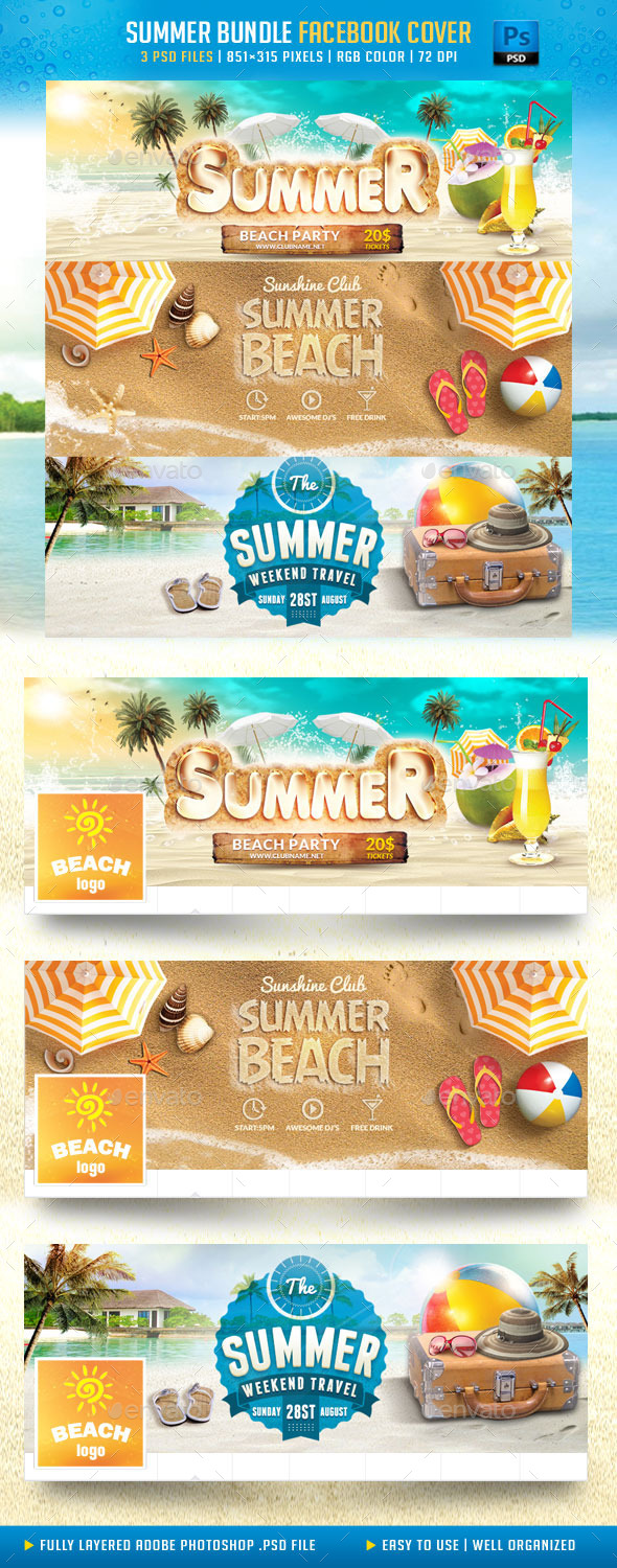 GraphicRiver Summer Bundle Facebook Cover 11858610