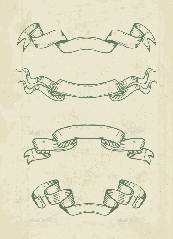 GraphicRiver Hand Drawn Vintage Ribbons Design Elements 11858699