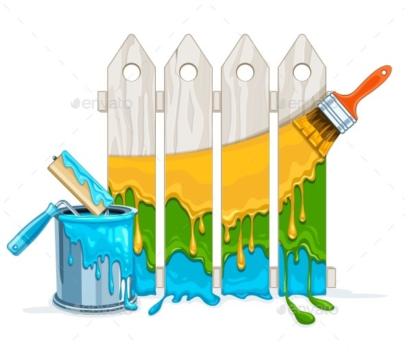 GraphicRiver White Fence Painting Maintenance 11858826
