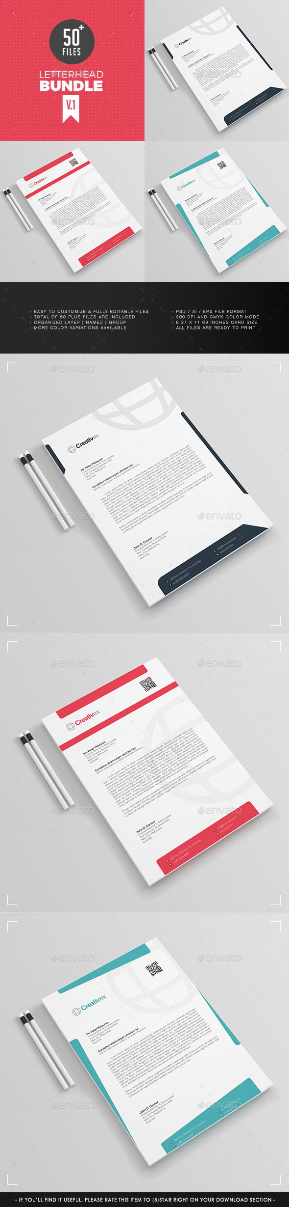 GraphicRiver 3 in 1 A4 Letterhead Bundle V.1 11859044