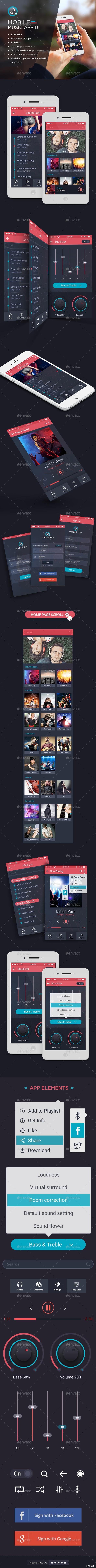 GraphicRiver Mobile Music App UI Kit HD 11859671