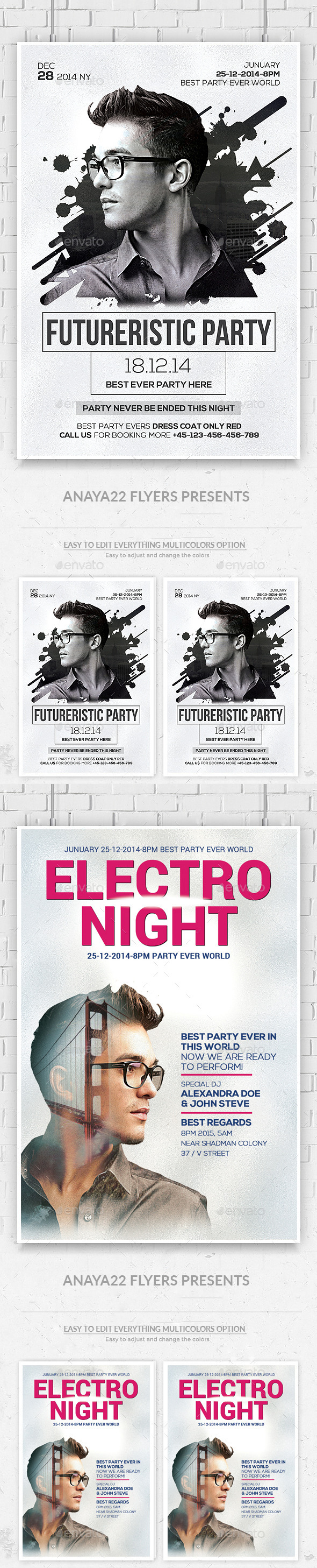 GraphicRiver Electro Concert Dj Flyers Bundle 11860019
