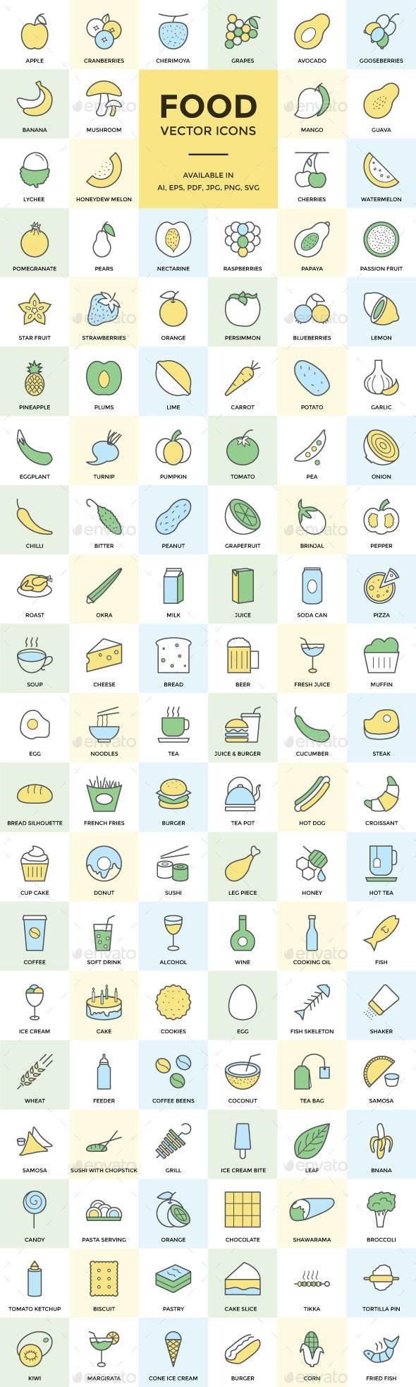 GraphicRiver 100& Food Vector Icons 11860025