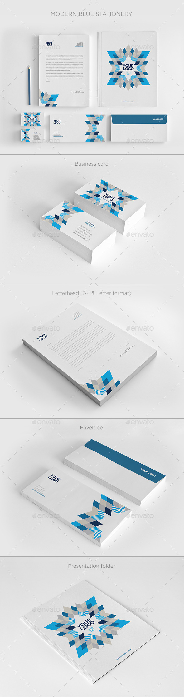 GraphicRiver Modern Blue Stationery 11860746