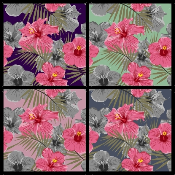GraphicRiver Set of Tropical Floral Seamless Patterns 11861552