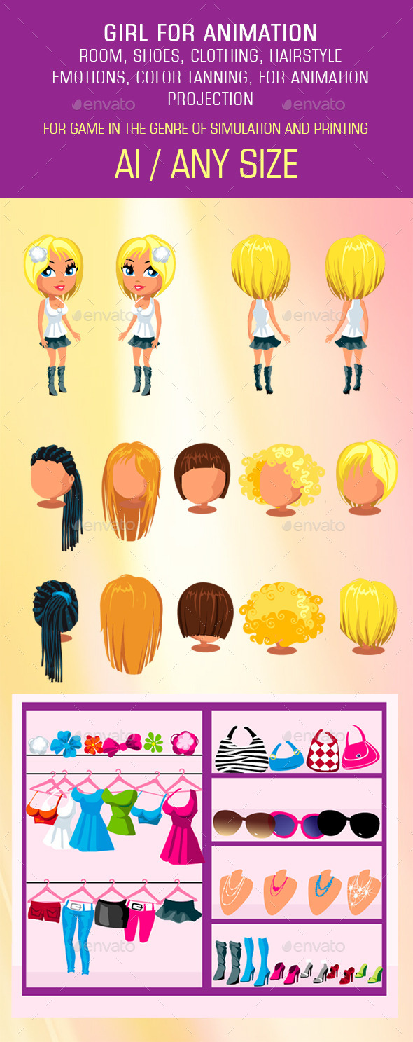 GraphicRiver Girl Mix and Match Character Pack 11861901