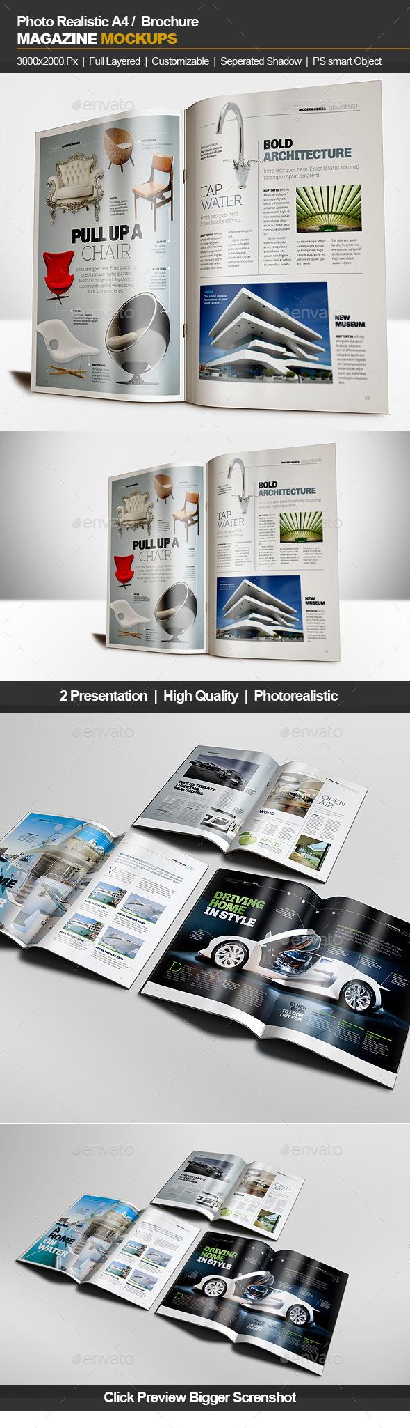 GraphicRiver A4 Brochure Magazine Mockup 11862139