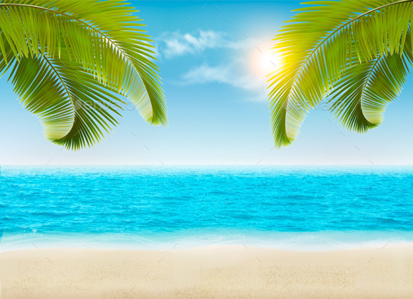 GraphicRiver Vacation Background Beach With Palm Trees 11862898
