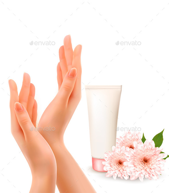 GraphicRiver Female Hands With A Cream And Flowers 11862904