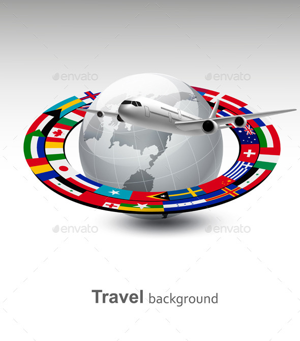 GraphicRiver Travel Background Globe With A Plane And A Strip 11862907
