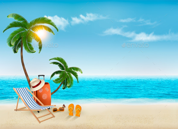 GraphicRiver Travel Background With Beach Chair And Palms 11862993