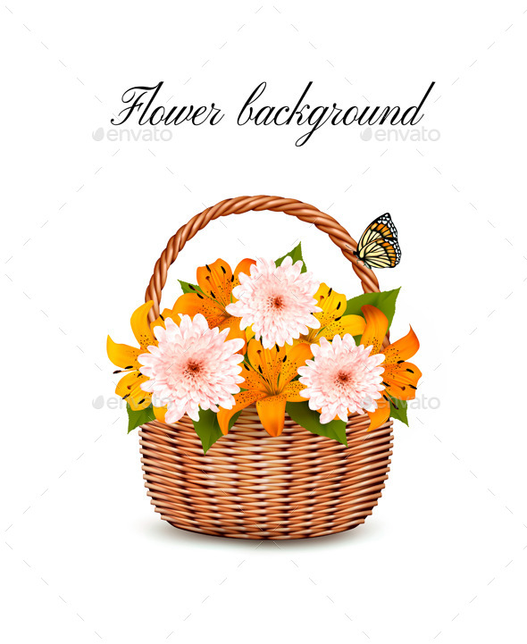 GraphicRiver Summer Background Basket Full Of Flowers 11862994