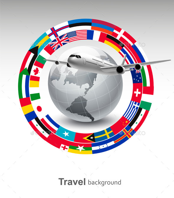 GraphicRiver Travel Background Globe With A Plane 11862999