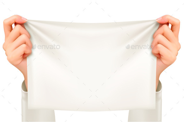 GraphicRiver Hands Holding A Piece Of Cloth Banner Vector 11863005