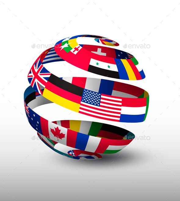 Globe Made Of A Strip Of Flags Vector